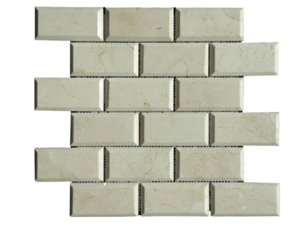 Crema Marfil Marble Mosaic Tile 2x4 Polished Pillow Edge Beige Cream Gray Indoor Floor Wall Backsplash Tub Shower Vanity QDI