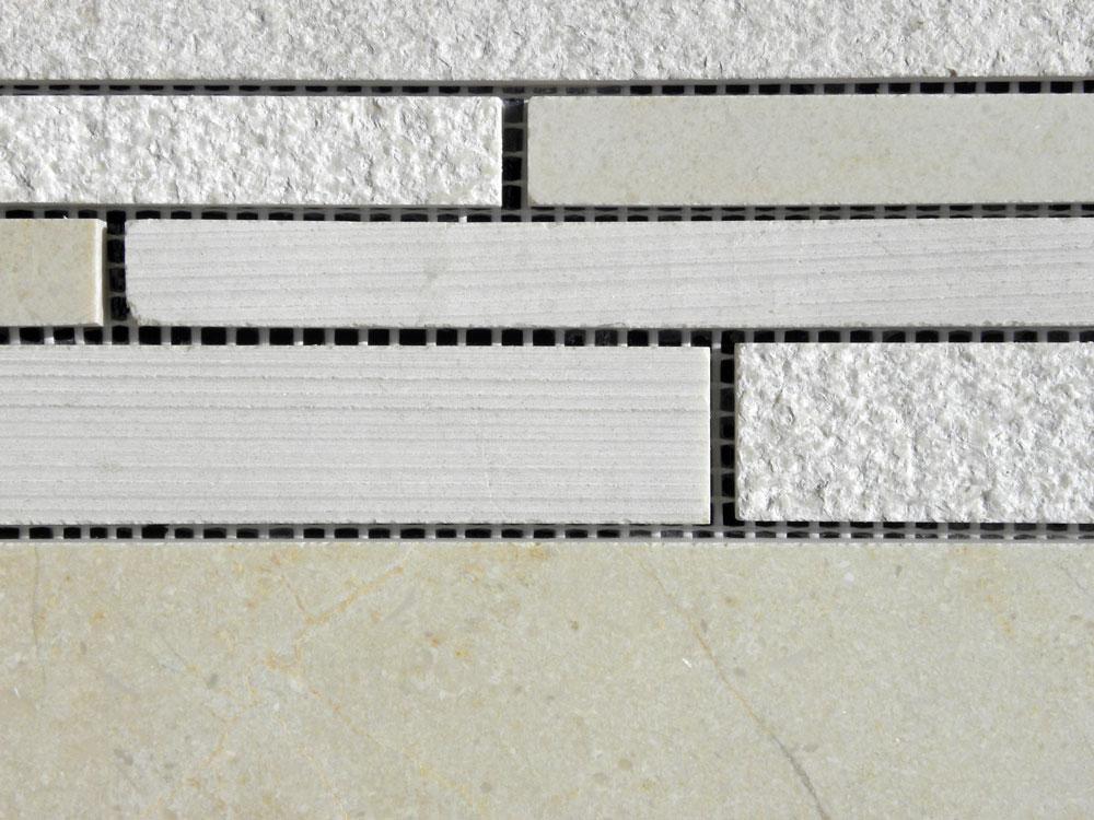 Crema Marfil Marble Mosaic Tile Deco Strip Honed 2 Beige Cream Gray Indoor Floor Wall Backsplash