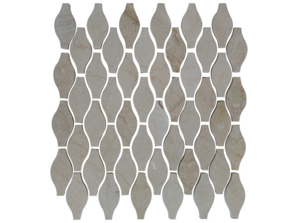 Crema Marfil Marble Mosaic Tile Drops Pattern Polished Pillow Edge Beige Cream Gray Indoor Floor Wall Backsplash Tub Shower Vanity