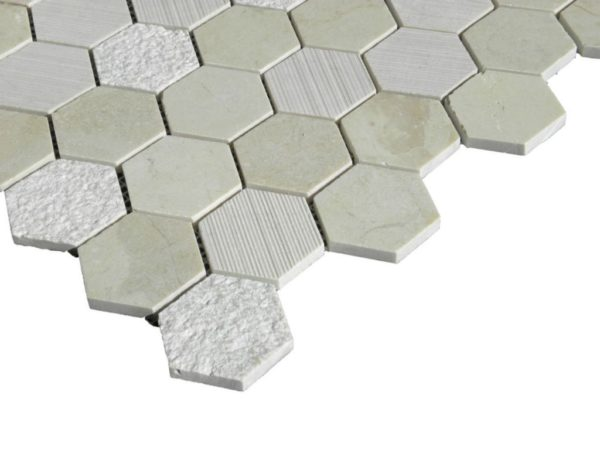 Crema Marfil Marble Mosaic Tile Hexagon Honed 2 Beige Cream Gray Indoor Floor Wall Backsplash Tub Shower Vanity QDI