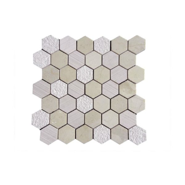 Crema Marfil Marble Mosaic Tile Hexagon Honed 3 Beige Cream Gray Indoor Floor Wall Backsplash Tub Shower Vanity QDI