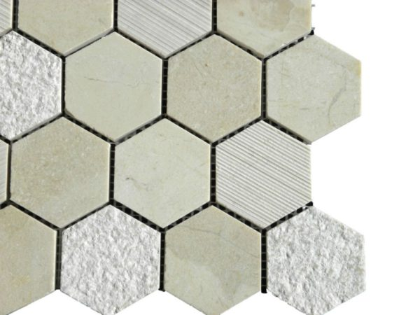 Crema Marfil Marble Mosaic Tile Hexagon Honed Beige Cream Gray Indoor Floor Wall Backsplash Tub Shower Vanity QDI
