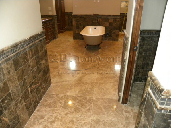 Dark Emprador Marble Tile 12x12 Polished 15 Brown Tan Indoor Floor Wall Backsplash Tub Shower Vanity QDIsurfaces