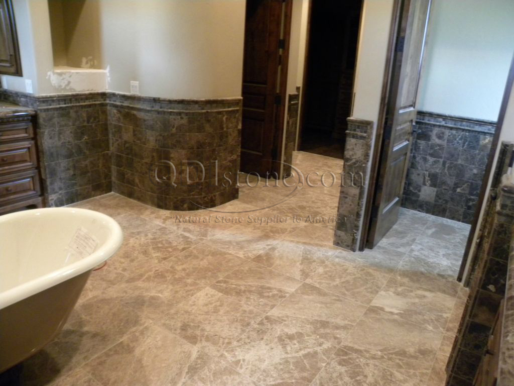 Dark Emprador Marble Tile 12x12 Polished 5 Brown Tan Indoor Floor Wall Backsplash Tub Shower Vanity QDIsurfaces