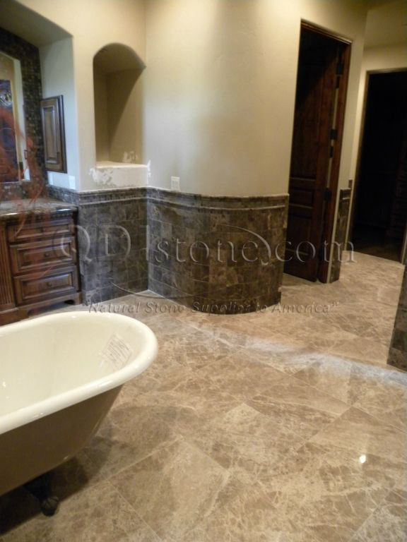Dark Emprador Marble Tile 12x12 Polished 6 Brown Tan Indoor Floor Wall Backsplash Tub Shower Vanity QDIsurfaces