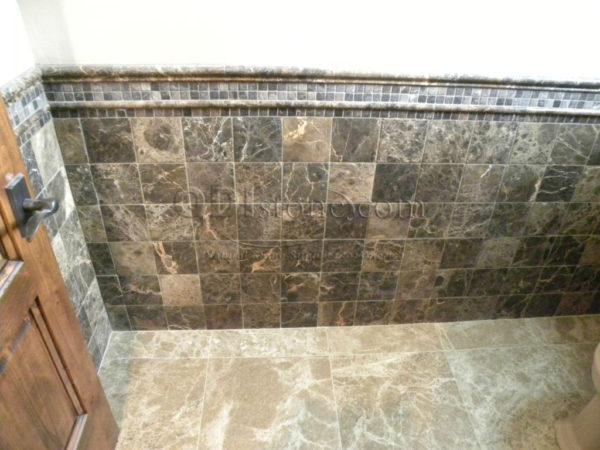 Dark Emprador Marble Tile 12x12 Polished 7 Brown Tan Indoor Floor Wall Backsplash Tub Shower Vanity QDIsurfaces