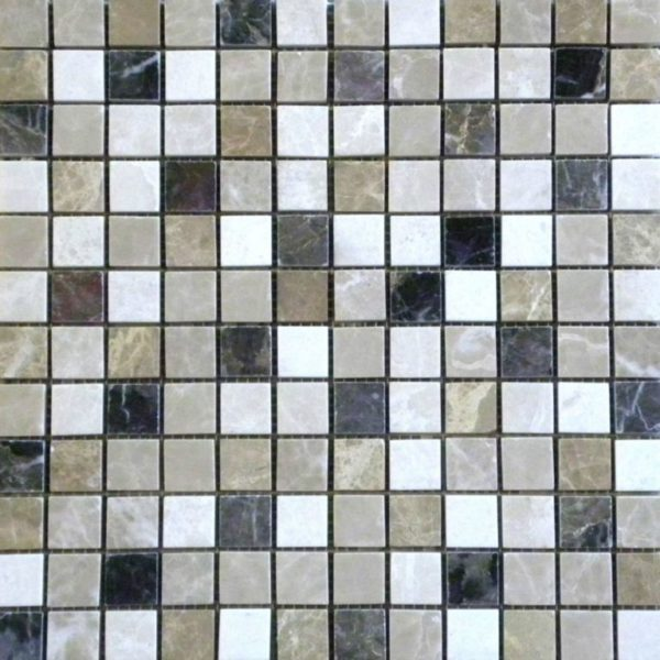 Dark Mixed Marble Mosaic Tile 1x1 Polished White Gray Beige Cream Tan Brown Indoor Floor Wall Backsplash Tub Shower Vanity QDI