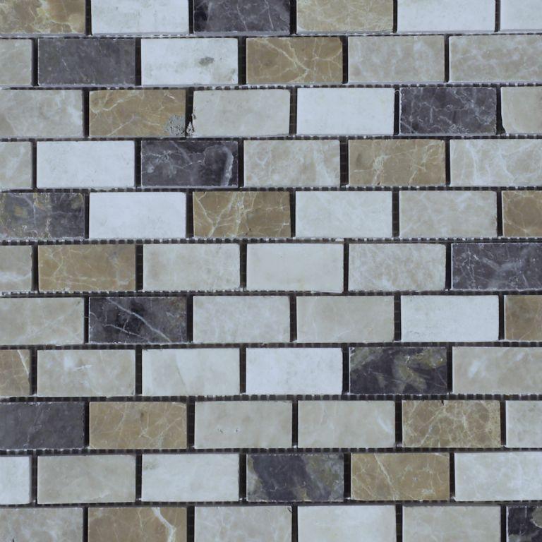 Dark Mixed Marble Mosaic Tile 1x2 Polished White Gray Beige Cream Tan Brown Indoor Floor Wall Backsplash Tub Shower Vanity QDI