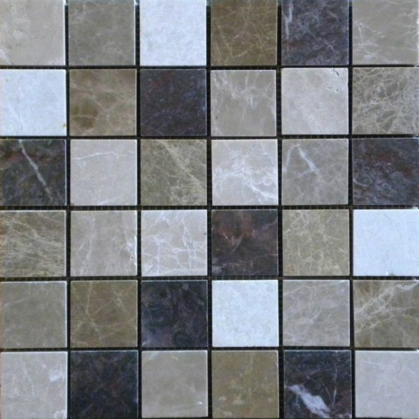 Dark Mixed Marble Mosaic Tile 2x2 Polished White Gray Beige Cream Tan Brown Indoor Floor Wall Backsplash Tub Shower Vanity QDI