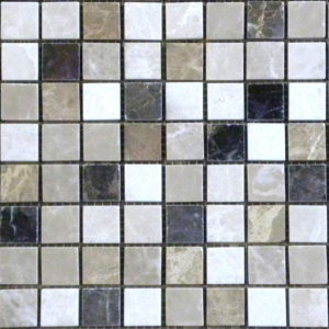 Dark Mixed Marble Mosaic Tile White Gray Beige Cream Tan Brown Indoor Floor Wall Backsplash Tub Shower Vanity QDIsurfaces