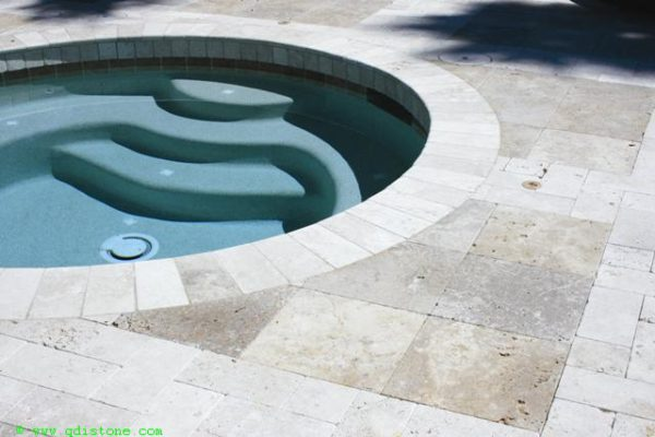 English Walnut Travertine Paver 12x12 2 Tumbled Beige Cream Tan Brown White Gray Outdoor Floor Wall Pool Patio Backyard Tub Shower Vanity