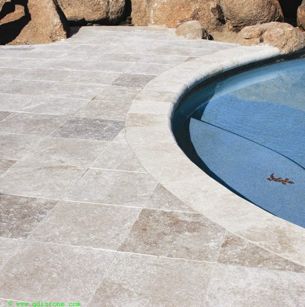 English Walnut Travertine Paver 16x16 Tumbled 3 Beige Cream Tan Brown White Gray Outdoor Floor Wall Pool Patio Backyard Tub Shower Vanit