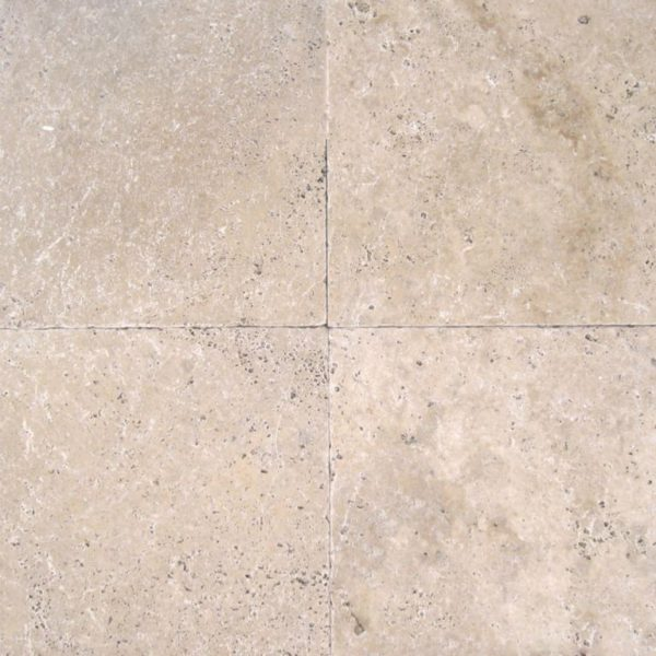 English Walnut Travertine Paver 16x16 Tumbled Beige Cream Tan Brown White Gray Outdoor Floor Wall Pool Patio Backyard Tub Shower Vanity