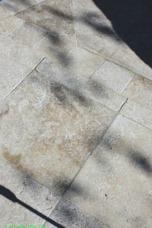 English Walnut Travertine Paver 6x6 Tumbled 2 Beige Cream Tan Brown White Gray Outdoor Floor Wall Pool Patio Backyard Tub Shower Vanity