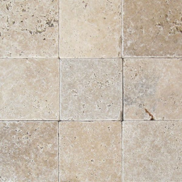 English Walnut Travertine Paver 6x6 Tumbled Beige Cream Tan Brown White Gray Outdoor Floor Wall Pool Patio Backyard Tub Shower Vanity