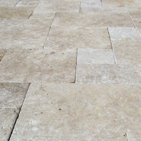 English Walnut Travertine Paver Versailles Pattern Tumbled Beige Cream Tan Brown White Gray Outdoor Floor Wall Pool Patio Backyard Tub