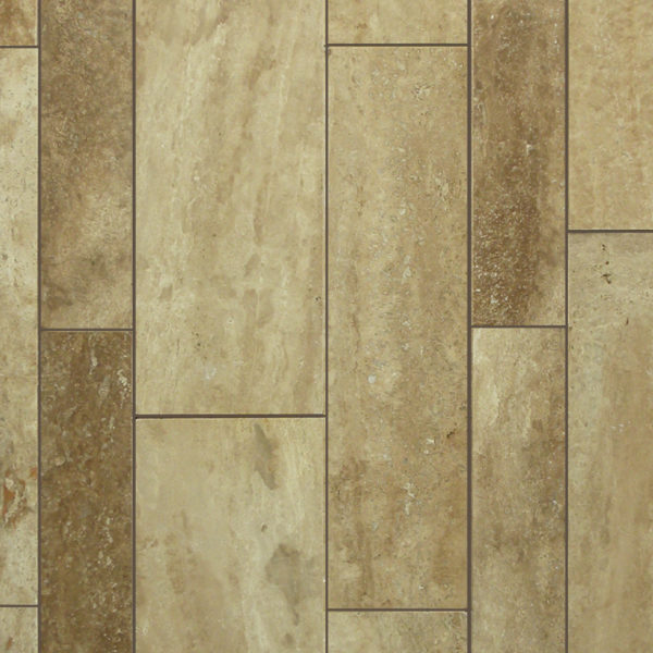 English Walnut Travertine Plank Floor Tile Tan Brown Beige Cream Indoor Floor Wall Backsplash Countertop Tub Shower Vanity