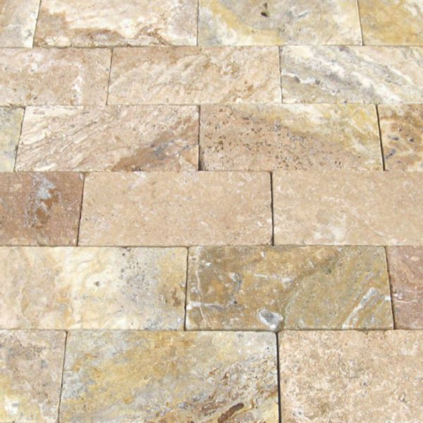 Fantastico Classic Travertine Paver 6x12 Tumbled Beige Cream Tan Brown White Gray Outdoor Floor Wall Pool Patio Backyard Tub Shower