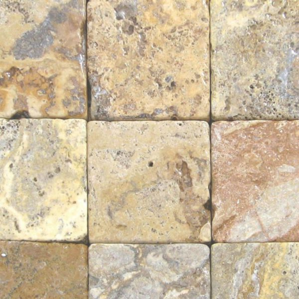 Fantastico Classic Travertine Paver 6x6 Tumbled 2 Beige Cream Tan Brown White Gray Outdoor Floor Wall Pool Patio Backyard Tub Shower