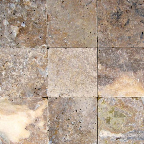 Fantastico Classic Travertine Paver 6x6 Tumbled Beige Cream Tan Brown White Gray Outdoor Floor Wall Pool Patio Backyard Tub Shower