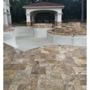 Fantastico Classic Travertine Paver Versailles Pattern Brushed Chiseled Edge Beige Cream Tan Brown White Gray Outdoor Floor Wall Pool
