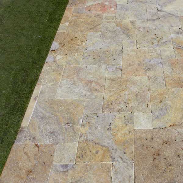 Fantastico Classic Travertine Paver Versailles Pattern Tumbled 2 Beige Cream Tan Brown White Gray Outdoor Floor Wall Pool Patio
