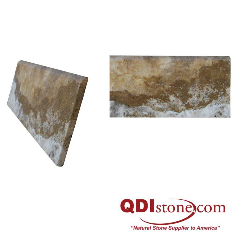 Fantastico Travertine Baseboard Tile 5x18 Honed Tan Brown Beige Cream Gray Indoor Wall Backsplash Tub Shower Vanity QDIsurfaces