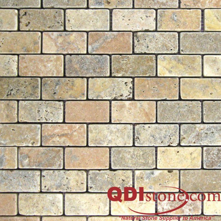 Fantastico Travertine Mosaic Tile 1x2 Tumbled Tan Brown Beige Cream Gray Indoor Floor Wall Backsplash Countertop Tub Shower Vanity