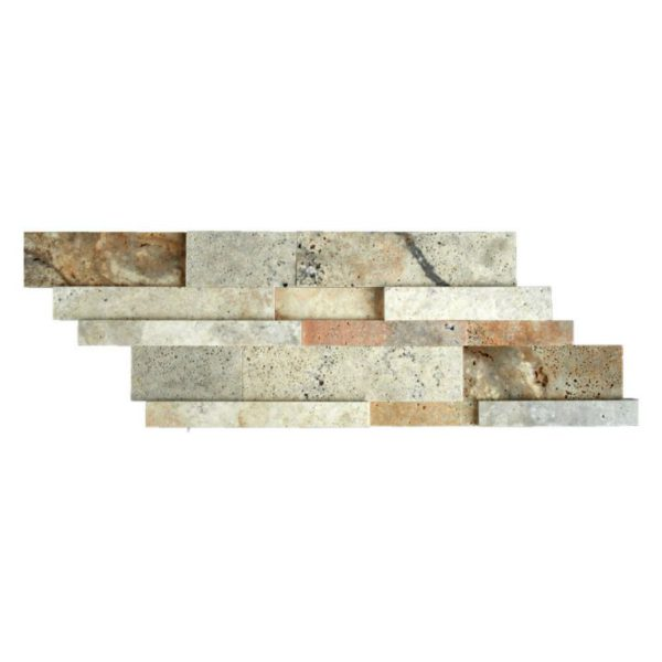 Fantastico Travertine Stack Stone Wall Cladding Panel Z Pattern Honed 2 Tan Brown Beige Cream Gray Indoor Outdoor Wall Backsplash Tub