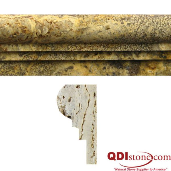 Fantastico Travertine Trim Tile Double Ogee Honed Tan Brown Beige Cream Gray Indoor Wall Backsplash Tub Shower Vanity QDIsurfaces