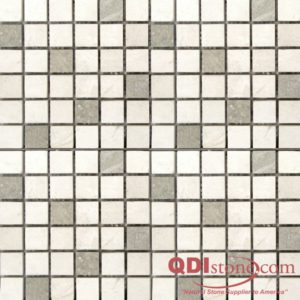 Freska Limestone Mosaic Tile 1x1 Honed with Sea Grass White Gray Indoor Floor Wall Backsplash Tub Shower Vanity QDIsurfaces