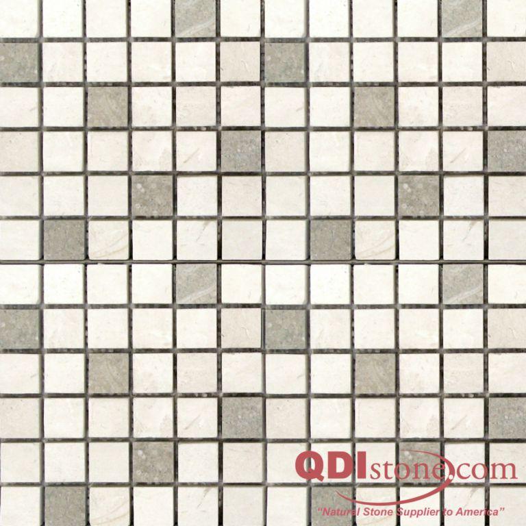 Freska Limestone Mosaic Tile 1x1 Honed with Sea Grass White Gray Indoor Floor Wall Backsplash Tub Shower Vanity QDIsurfaces