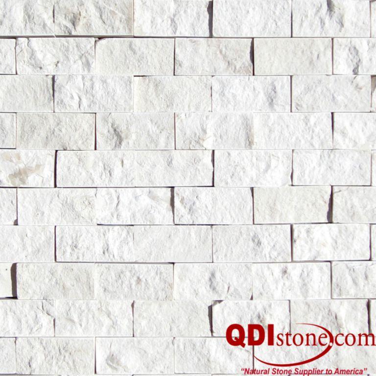 Freska Limestone Split Face Tile 1x2 Length Gray White Indoor Outdoor Wall Backsplash Tub Shower Vanity QDIsurfaces