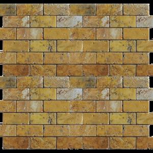 QDI Gold 1x2 Travertine Tumbled Mosaic Tile