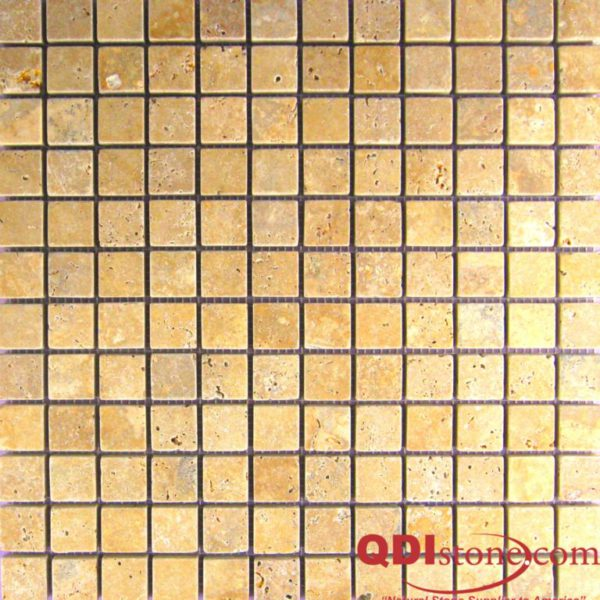 Gold Travertine Mosaic Tile 1x1 Tumbled Tan Brown Yellow Gold Indoor Floor Wall Backsplash Countertop Tub Shower Vanity QDIsurfaces