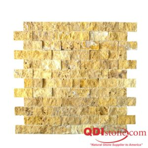 Gold Travertine Mosaic Tile 1x2 Split Face Tan Brown Yellow Gold Indoor Floor Wall Backsplash Countertop Tub Shower Vanity QDIsurfaces