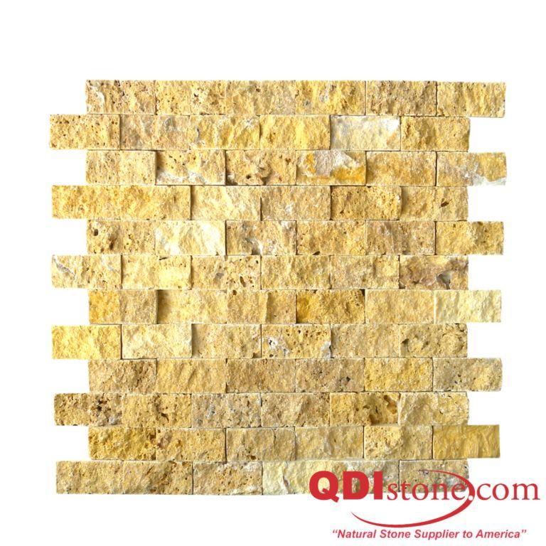 Gold Travertine Mosaic Tile 1x2 Split Face Tan Brown Yellow Gold Indoor Floor Wall Backsplash Countertop Tub Shower Vanity QDIsurfaces