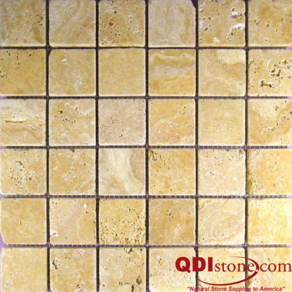 Gold Travertine Mosaic Tile 2x2 Tumbled Tan Brown Yellow Gold Indoor Floor Wall Backsplash Countertop Tub Shower Vanity QDIsurfaces