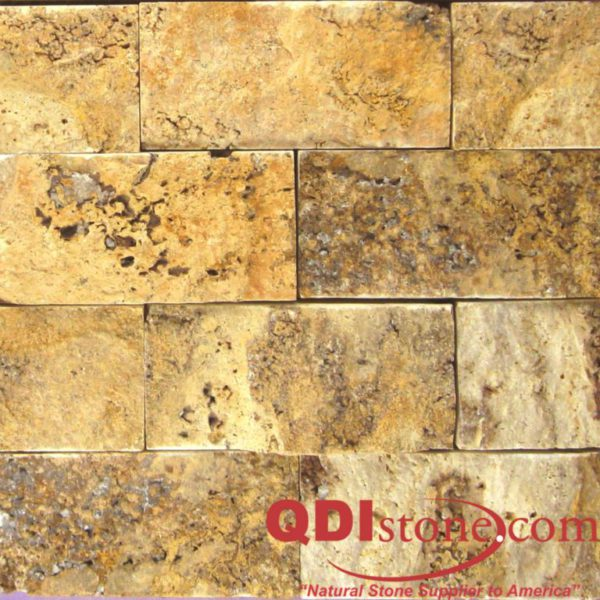 Gold Travertine Mosaic Tile 2x4 Split Face Tan Brown Yellow Gold Indoor Floor Wall Backsplash Countertop Tub Shower Vanity QDIsurfaces
