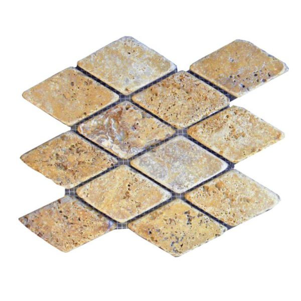 Gold Travertine Mosaic Tile Keramos Diamond Tumbled Tan Brown Yellow Gold Indoor Floor Wall Backsplash Countertop Tub Shower Vanity QDI
