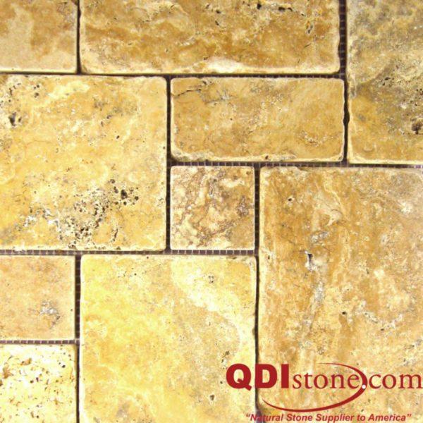 Gold Travertine Mosaic Tile Mini Versailles Pattern Tumbled Tan Brown Yellow Gold Indoor Floor Wall Backsplash Countertop Tub Shower Vanity