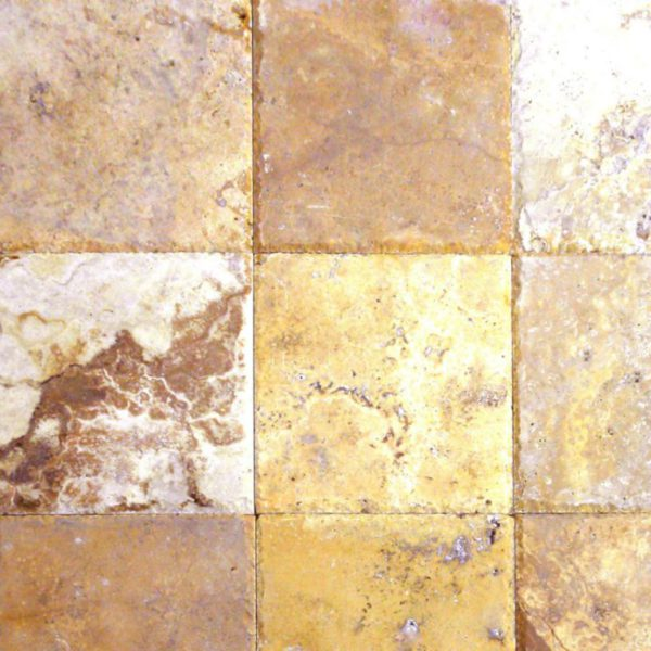 Gold Travertine Paver 12x12 Brushed Chiseled Edge Tan Brown Beige Cream Yellow Gold Outdoor Floor Wall Pool Patio Backyard Tub Shower Vanity QDI