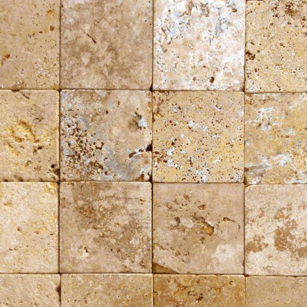 Gold Travertine Paver 12x12 Tumbled 2 Tan Brown Beige Cream Yellow Gold Outdoor Floor Wall Pool Patio Backyard Tub Shower Vanity QDIsurfaces