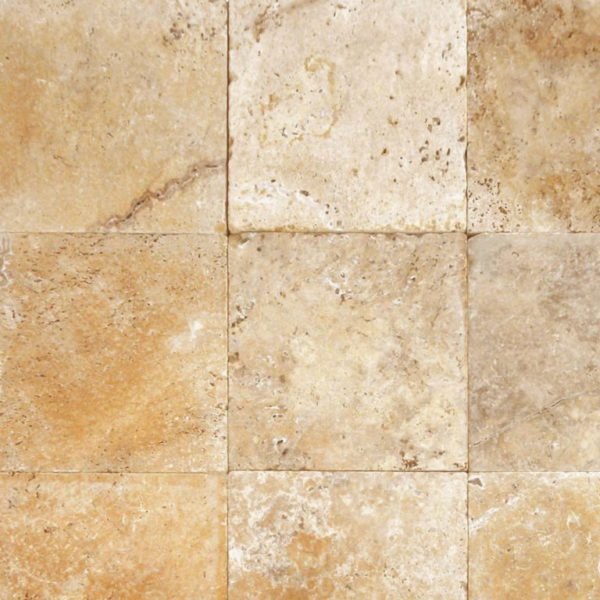 Gold Travertine Paver 12x12 Tumbled Tan Brown Beige Cream Yellow Gold Outdoor Floor Wall Pool Patio Backyard Tub Shower Vanity QDIsurfaces