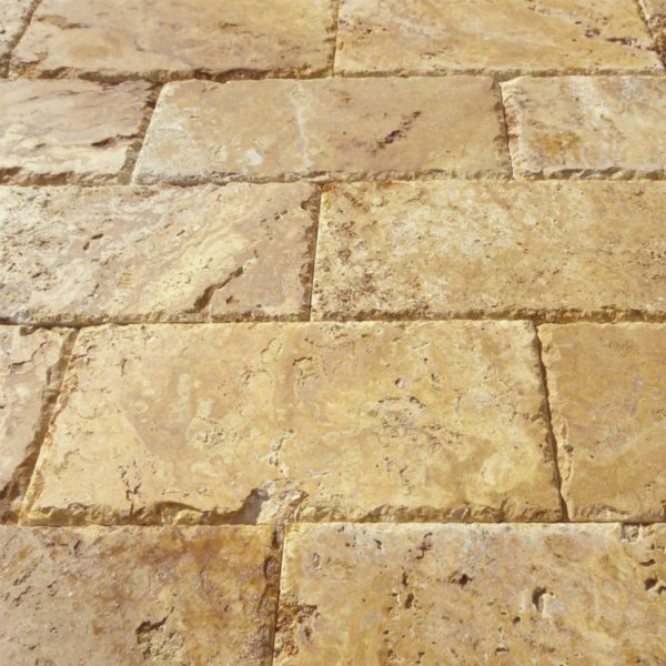 Gold Travertine Paver 6x12 Brushed Chiseled Edge Tan Brown Beige Cream Yellow Gold Outdoor Floor Wall Pool Patio Backyard Tub Shower Vanity QDI
