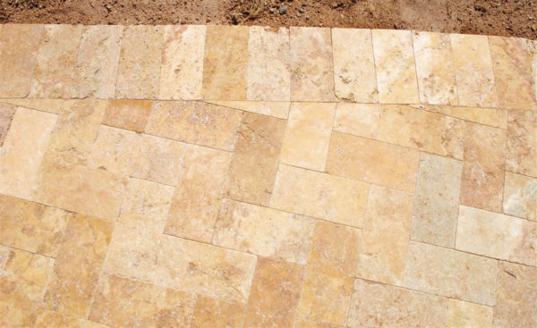 Gold Travertine Paver 6x12 Tumbled 5 Tan Brown Beige Cream Yellow Gold Outdoor Floor Wall Pool Patio Backyard Tub Shower Vanity QDIsurfaces
