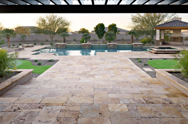 Gold Travertine Paver Versailles Pattern Tumbled 10 Tan Brown Beige Cream Yellow Gold Outdoor Floor Wall Pool Patio Backyard Tub Shower Vanity