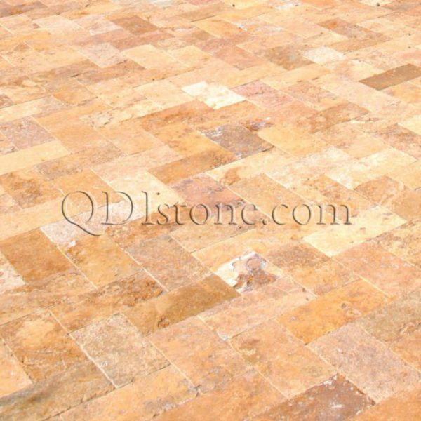 Gold Travertine Paver Versailles Pattern Tumbled 2 Tan Brown Beige Cream Yellow Gold Outdoor Floor Wall Pool Patio Backyard Tub Shower Vanity