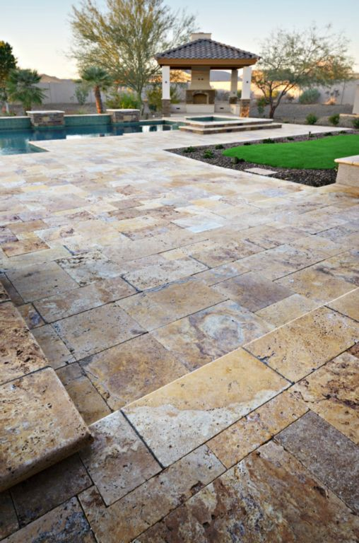Gold Travertine Paver Versailles Pattern Tumbled 3 Tan Brown Beige Cream Yellow Gold Outdoor Floor Wall Pool Patio Backyard Tub Shower Vanity