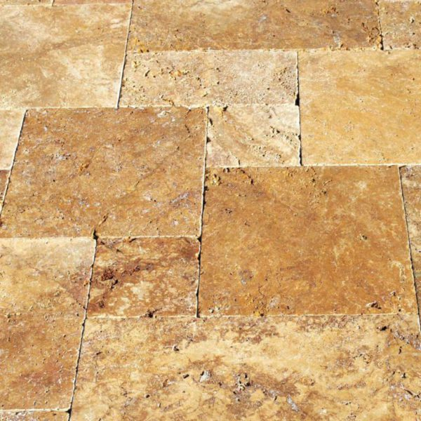 Gold Travertine Paver Versailles Pattern Tumbled Tan Brown Beige Cream Yellow Gold Outdoor Floor Wall Pool Patio Backyard Tub Shower Vanity QDI